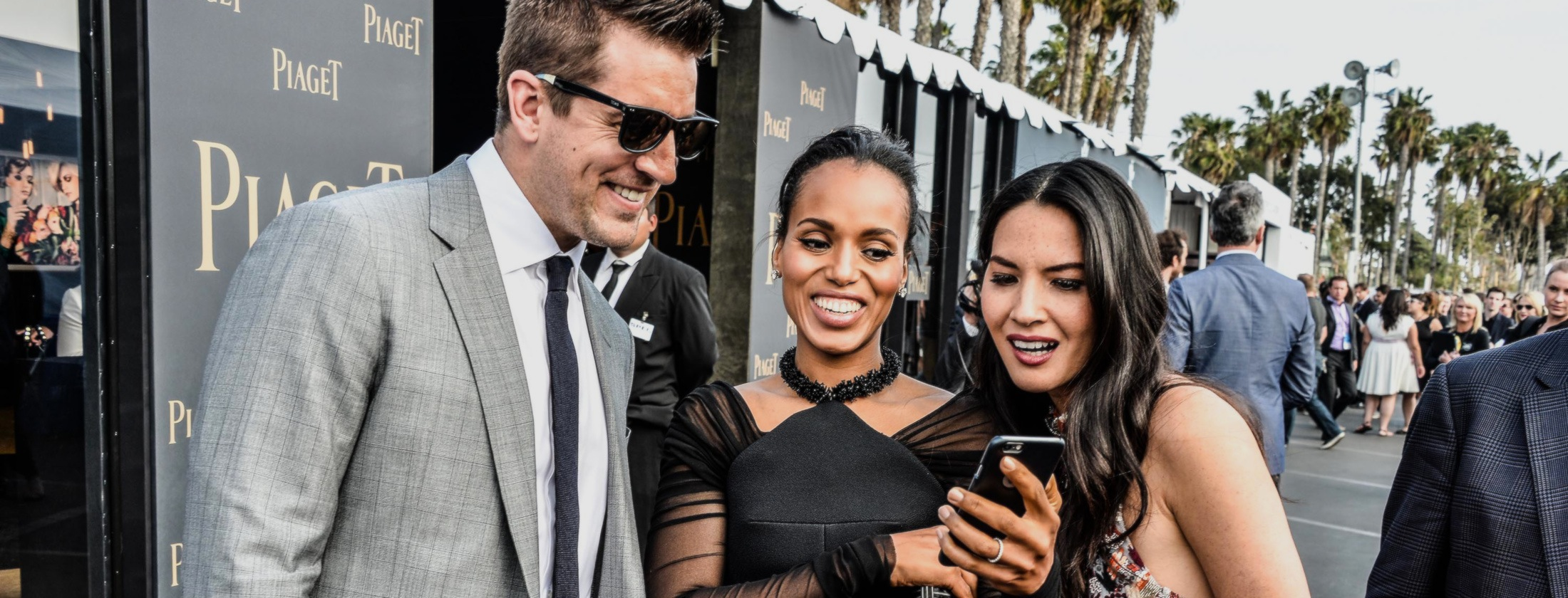 SANTA MONICA, CA - FEBRUARY 21:  NFL player Aaron Rodgers, Kerry Washington and Olivia Munn attend the 2015 Film Independent Spirit Awards at Santa Monica Beach on February 21, 2015 in Santa Monica, California.  (Photo by George Pimentel/WireImage)