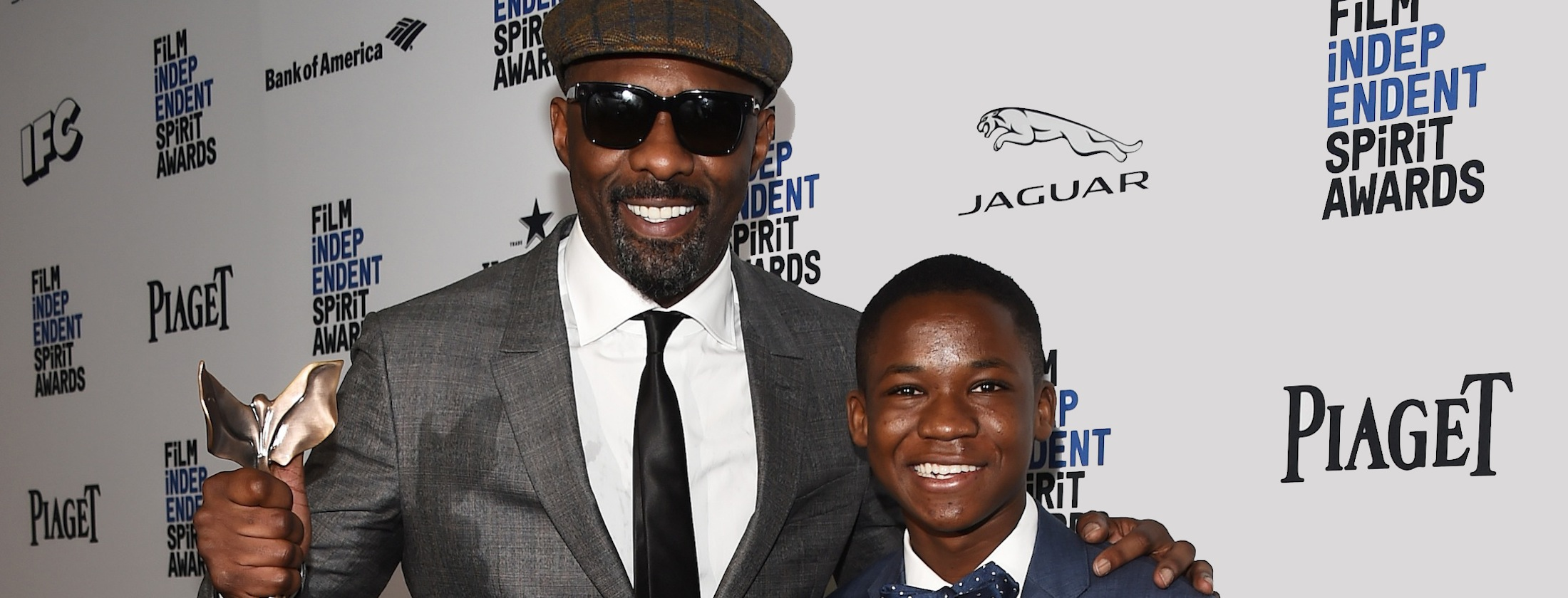 SANTA MONICA, CA - FEBRUARY 27:  Actors Idris Elba (L) and Abraham Attah attend the 2016 Film Independent Spirit Awards on February 27, 2016 in Santa Monica, California.  (Photo by Amanda Edwards/WireImage)