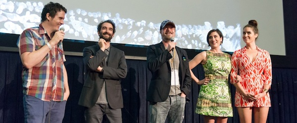 "LOS ANGELES, CA - JUNE 14: Director J. Davis and actors Jay Duplass, Linas Phillips, Leonora Pitts and Davie-Blue speak onstage at the ""Manson Family Vacation"" screening during the 2015 Los Angeles Film Festival at Regal Cinemas L.A. Live on June 14, 2015 in Los Angeles, California. (Photo by Akisha Rundquist/WireImage)"