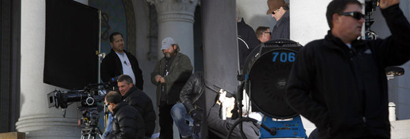 "Los Angeles, Ca. December 5, 2011 Filming has returned to Los Angeles City Hall. Production of ""Gangster Squad,"" a feature film starring Sean Penn, took place on the steps of City Hall on Monday morning.(Photo by Michael Robinson Chavez/Los Angeles Times)"
